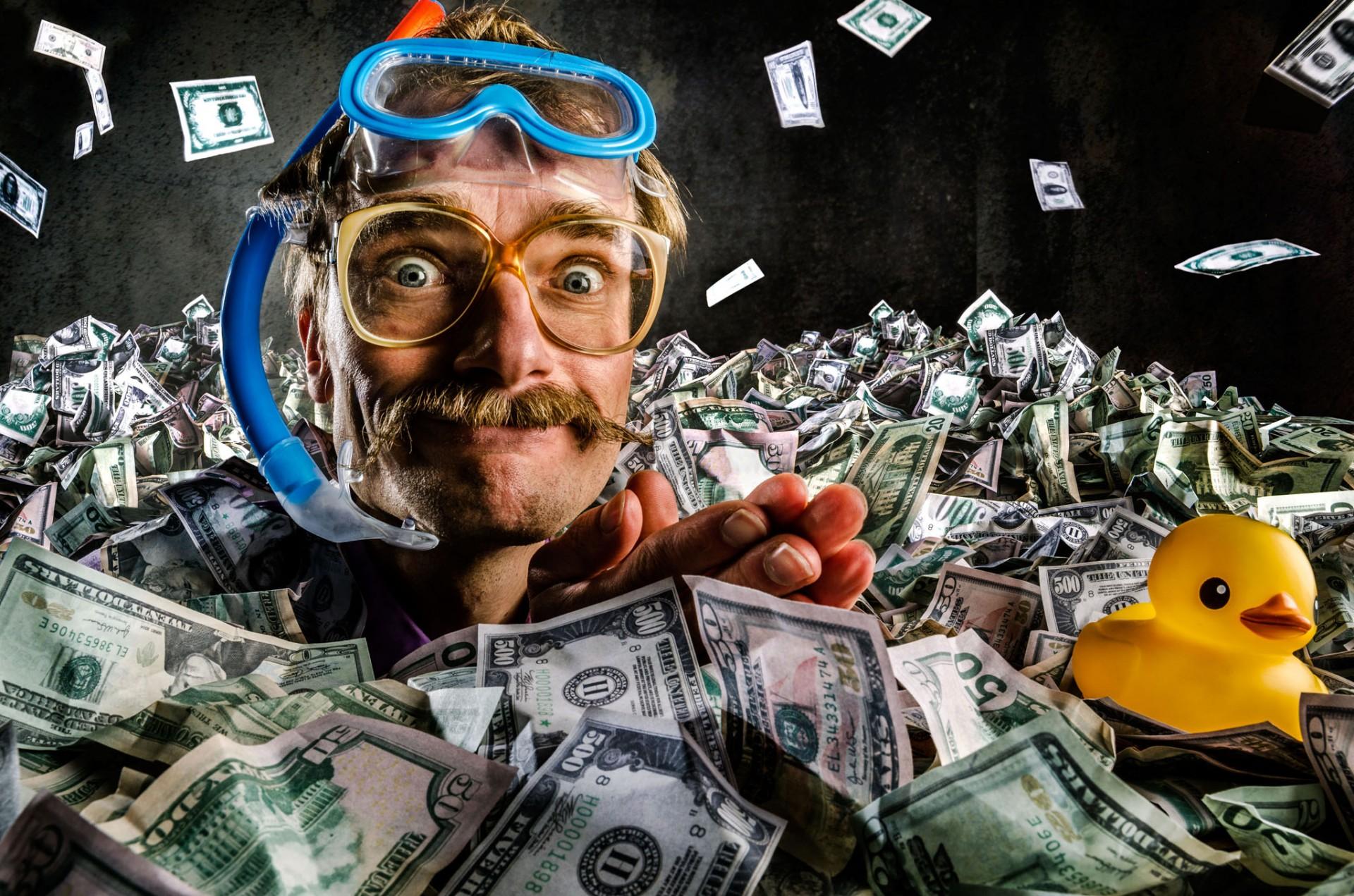 zwemen in het geld